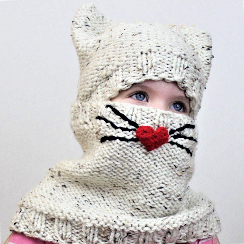 Knitting pattern, Patron de tricot, PDF, Cody CAT SET/ Set hat+cowl ...