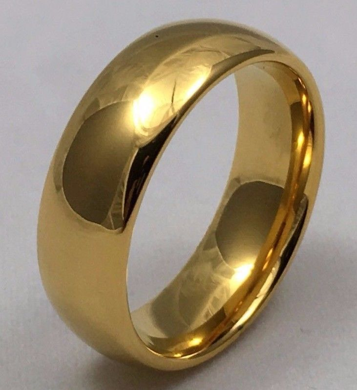 Tungsten Ring 14K Gold Mens Wedding Band Classic Womans Bridal Jewelry Size 7-12 #Zomar