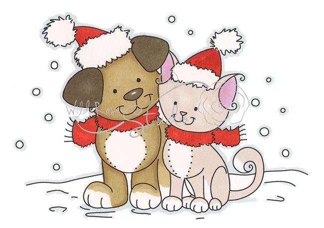 Merry christmas   Рисунки, Собачки, Кот