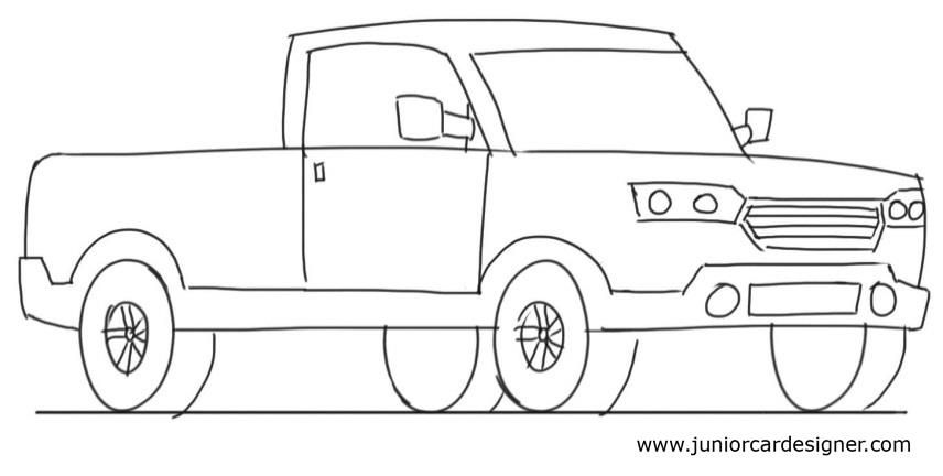 Car Drawing Tutorial Pick Up Truck 3 4 Front View With Images