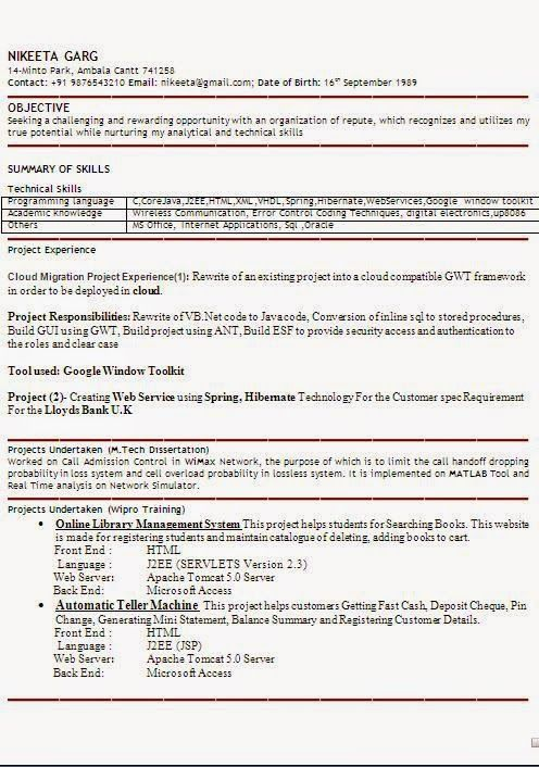MTech Resume Format Pinterest Resume format and Student resume
