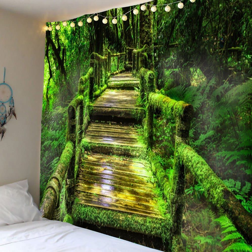 forest mosses wood pathway wall hanging tapestry green on walls coveralls website id=66639