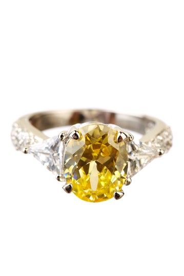 Sterling Silver Oval Canary Yellow  Trillion CZ Three-Stone Ring