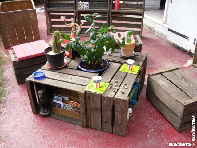 Table basse 4 caisses pommes bois anciennes vintage loft industriel en gironde caisses pommes - Table basse caisse a pomme ...