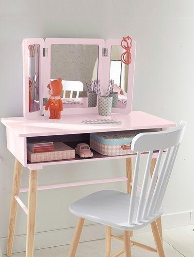 Coiffeuse fille 3 miroirs th me paradis fleuri violet for Miroir 3 pans