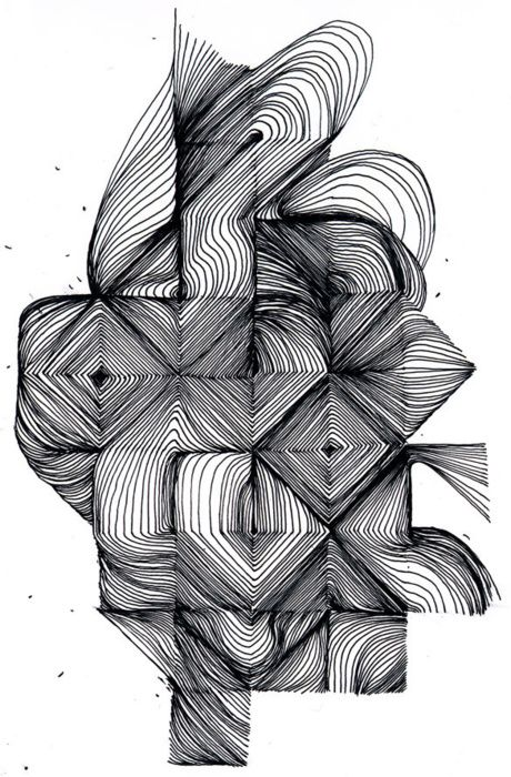 Line Drawing Abstract : Intricate geometric pen and ink art artistic inspiration