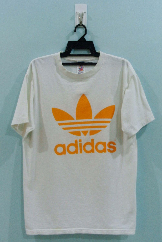 Vintage Adidas White T Shirt Trefoil Big Logo Made In Usa Hip Hop Bm Vintage Adidas White Adidas Shirts