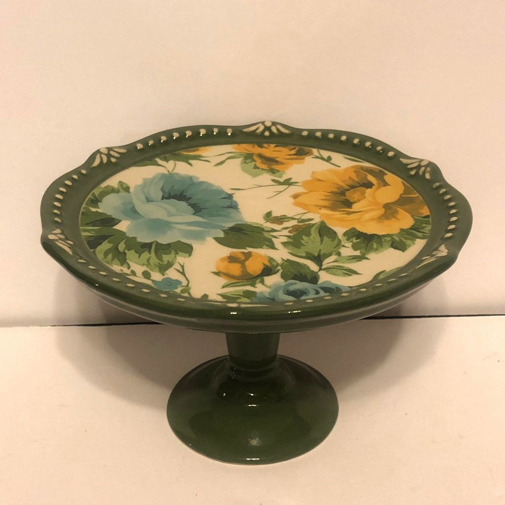 Pioneer woman floral bursts mini cake plate stand cupcake