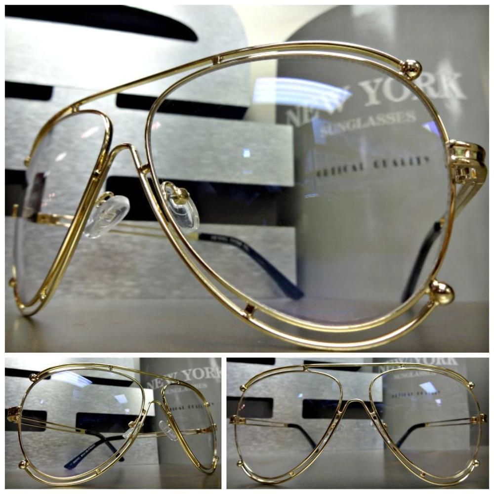 835caf96c4 Mens Women CLASSIC VINTAGE RETRO Style Clear Lens EYE GLASSES Gold Fashion  Frame