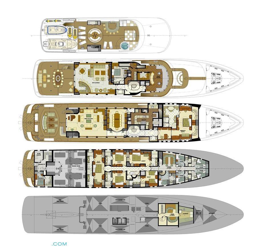 mustique luxury yacht deck plans yachts pinterest