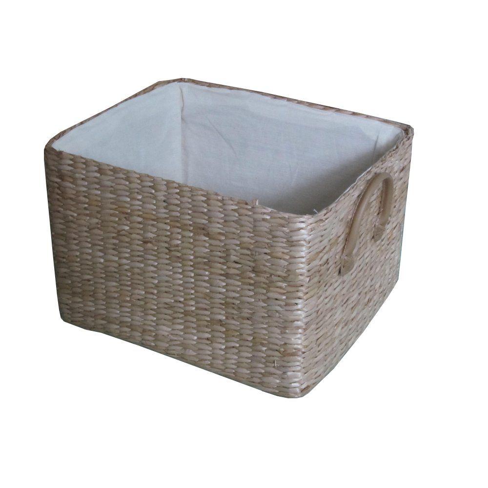 Wicker storage basket home storage baskets melbury rectangular wicker - Soft Rush Rectangular Deep Lined Storage Basket