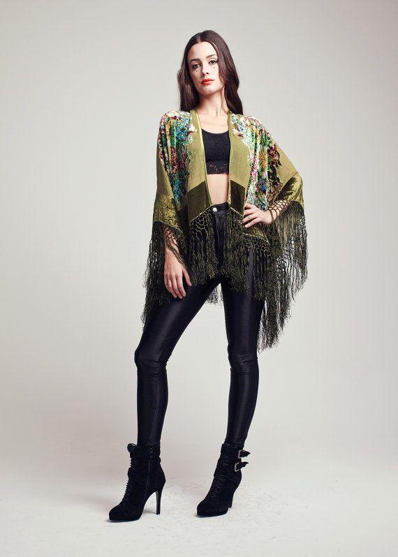 Velvet Fringe Kimono  Olive Green by shevamps on Etsy, £99.00