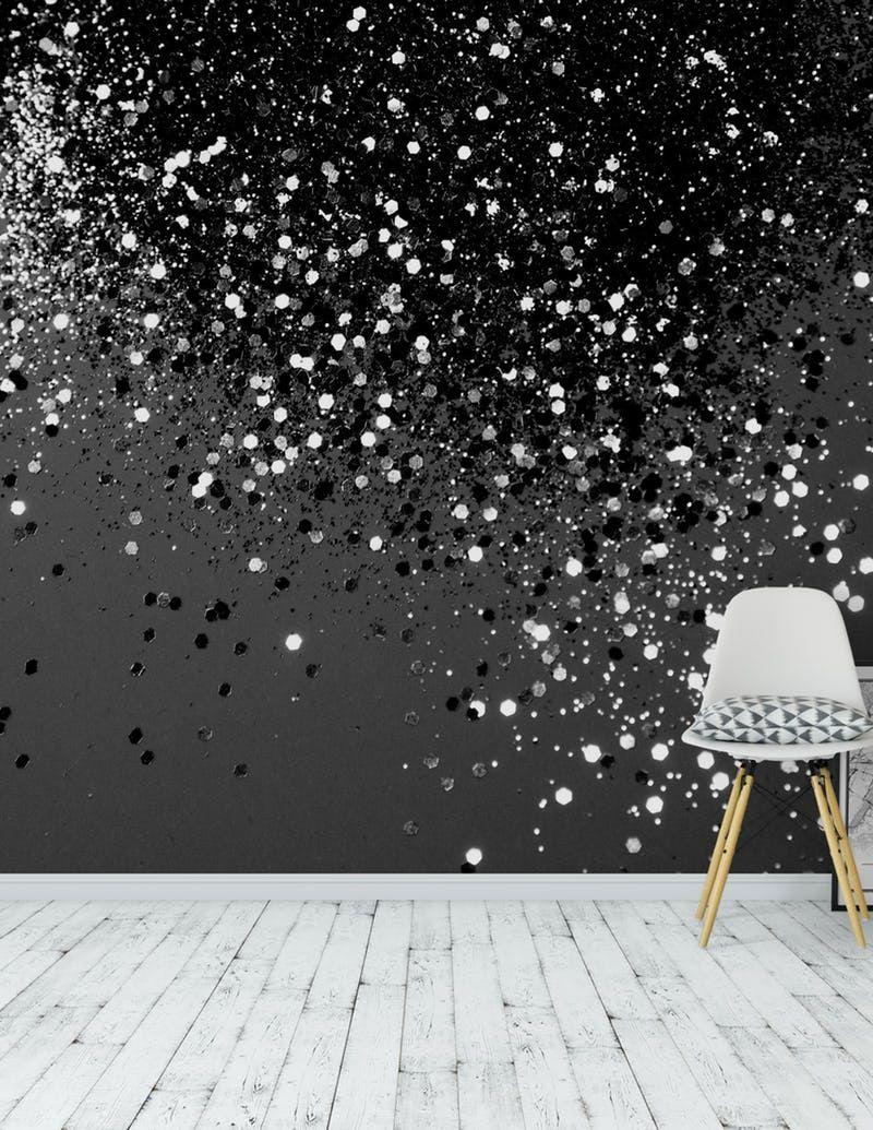 Dark Gray Black Glitter 1 Fototapet Tapet Fran Happywall Sovrum Tapeter Glittervagg Glittertapet