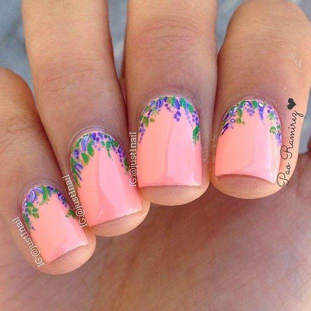 Cute Flower Nail Design for Short Nails - 50 Flower Nail Designs For Spring Flower Nail Designs, Flower