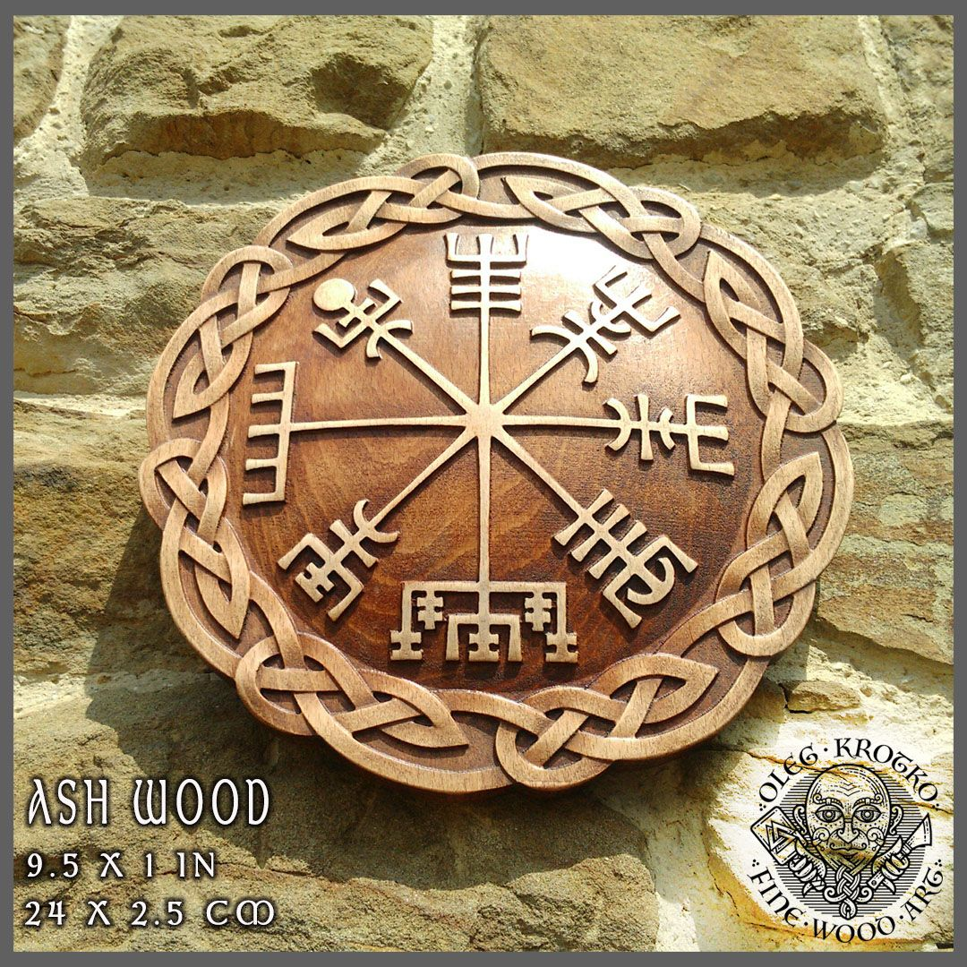 Vegvisir hand made wood carved picture viking compass