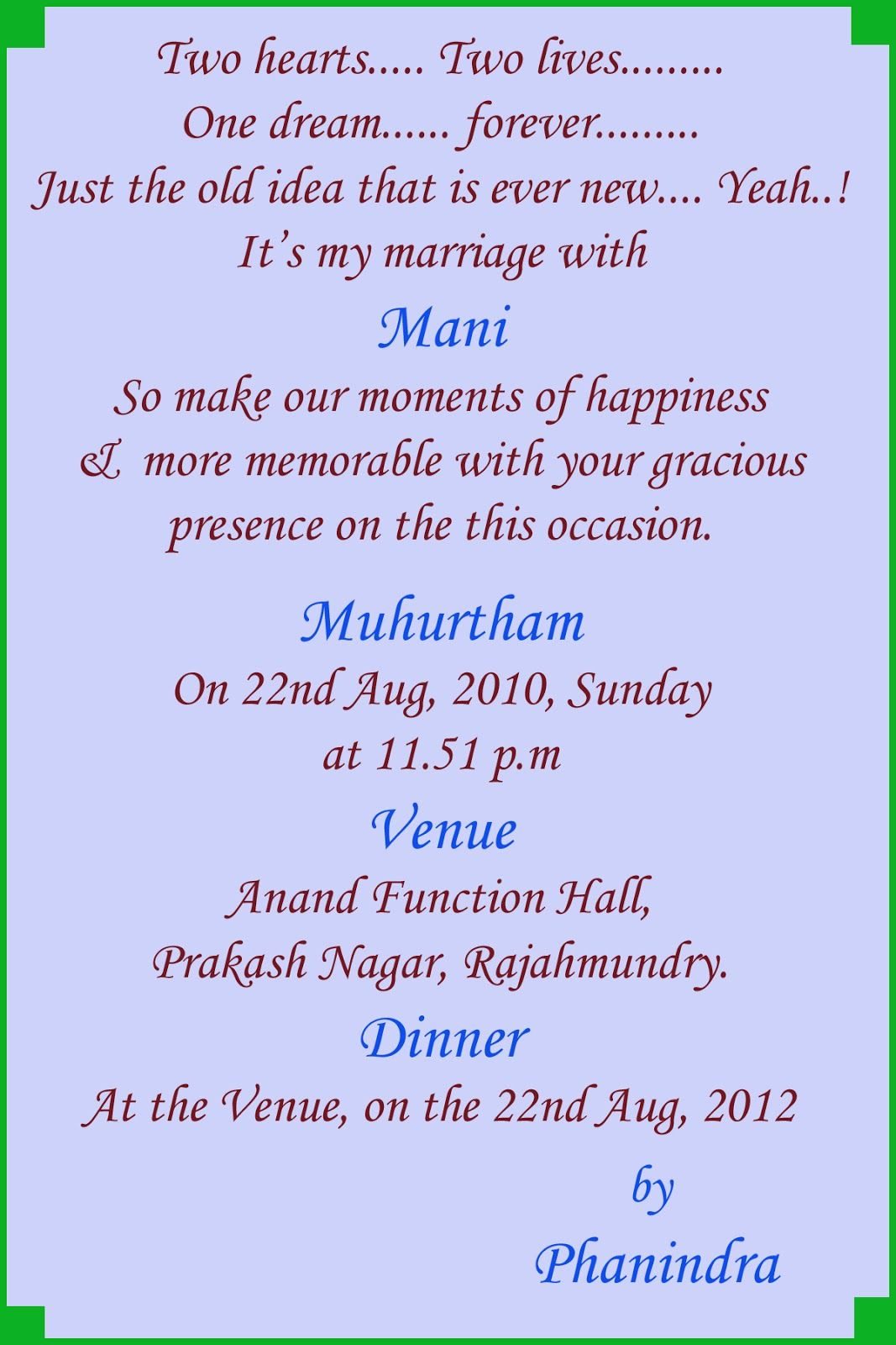 information indian hindu marriage invitation card matter english