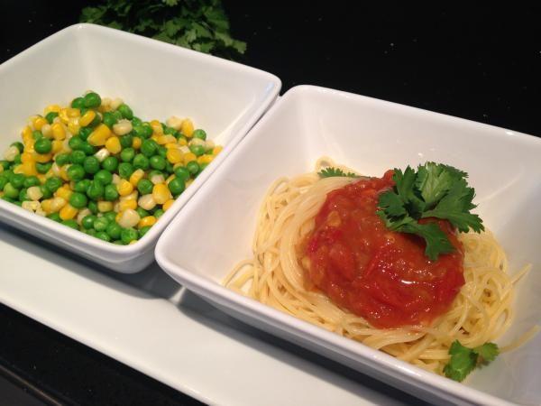 Rezept: Spaghetti mit Tomaten-Chutney - vegan