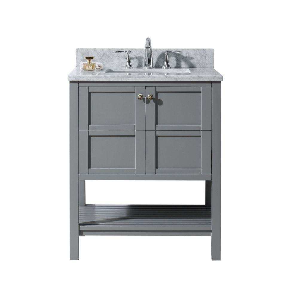 Virtu Usa Winterfell 30 In W Bath Vanity In Gray With Marble