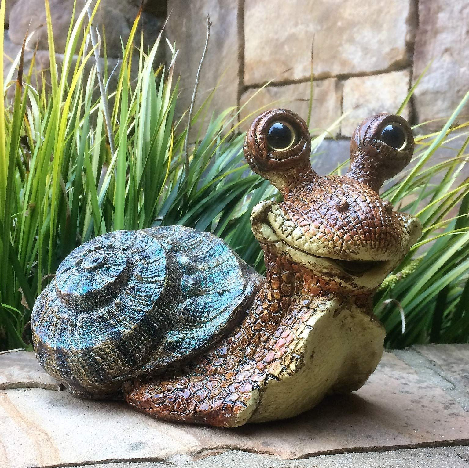 Toad Hollow Homestyles Medium Snails Lying Andamp Standing 2 Piece Brown Body With Assorted Shell Colors Whimsical Garden Statue Be Sure To Ch In 2020 Whimsical Garden