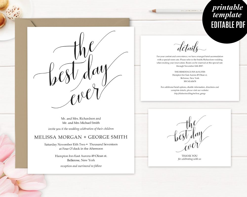 The Best Day Ever Modern Wedding Invitation Template Printable