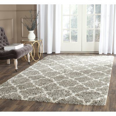Photo of Andover Mills Leah Geometric Gray Area Rug