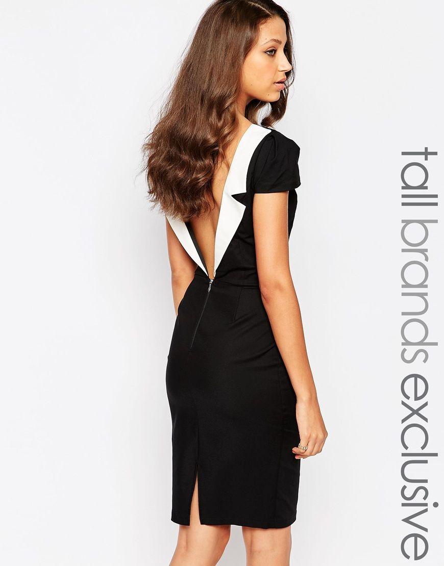 Black dresses for wedding guest  PaperDollsTallPlungeBackPencilDress  New Wardrobe  Pinterest