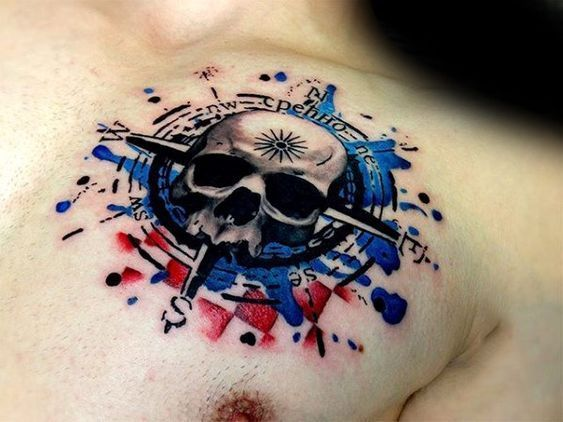 1b65b6ebfe685 Watercolor Compass Skull Mens Red And Blue Ink 3d Chest Tattoo ...