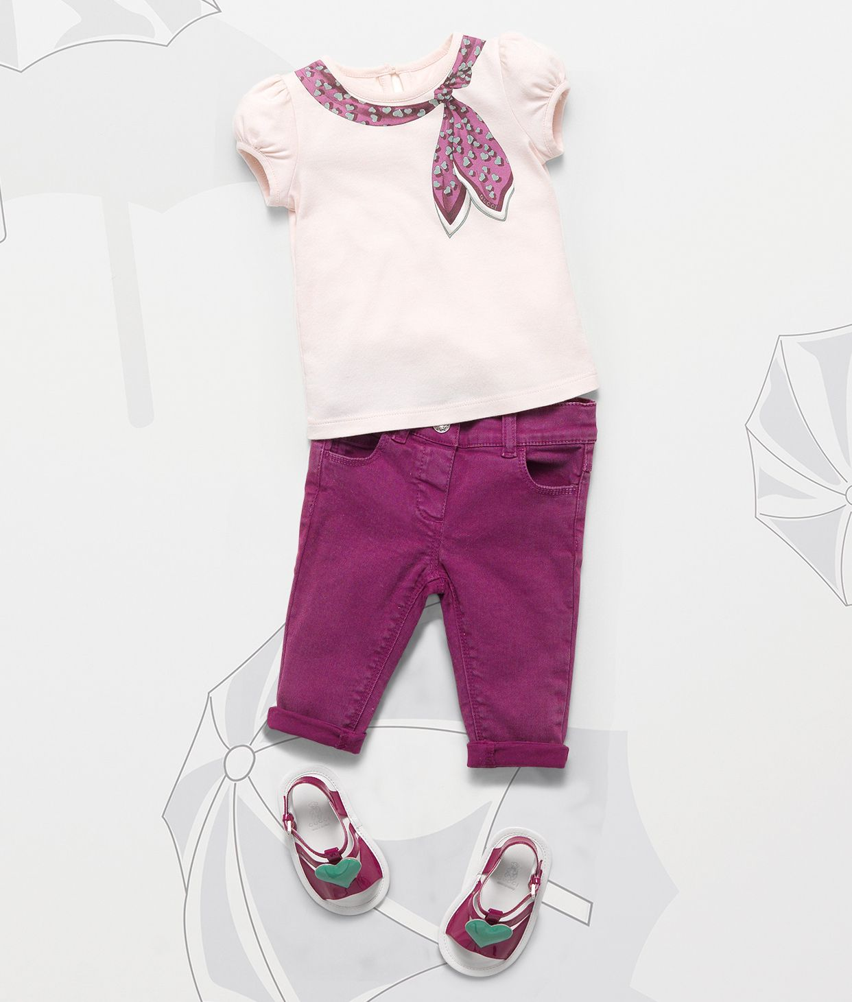 67ff9822361 Gucci Children's SS 2014 Collection: Heartbeat Scarf Print T-Shirt with  Denim Rolled Pant and Baby Patent Leather Sandal