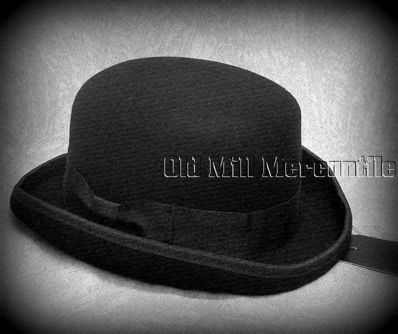 GENTS CLASSIC BOWLER HAT BLACK 100/% WOOL M L XL XXL XXXL NEW