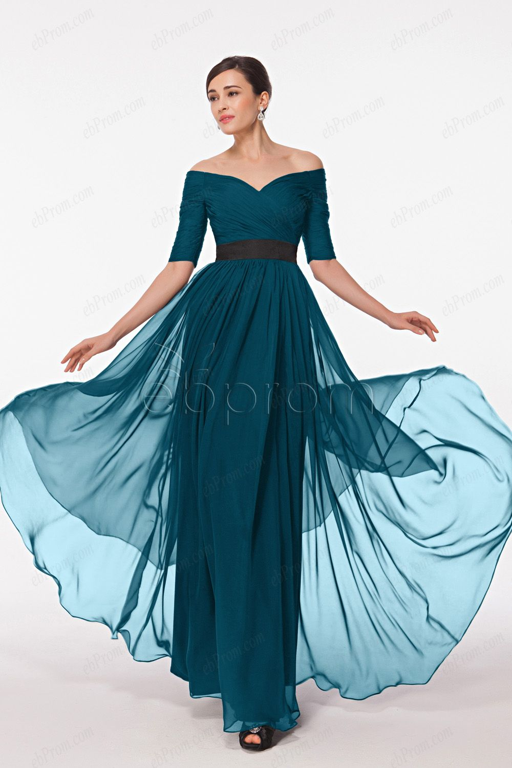 Teal off the shoulder evening dress with sleeves | Blue formal dresses