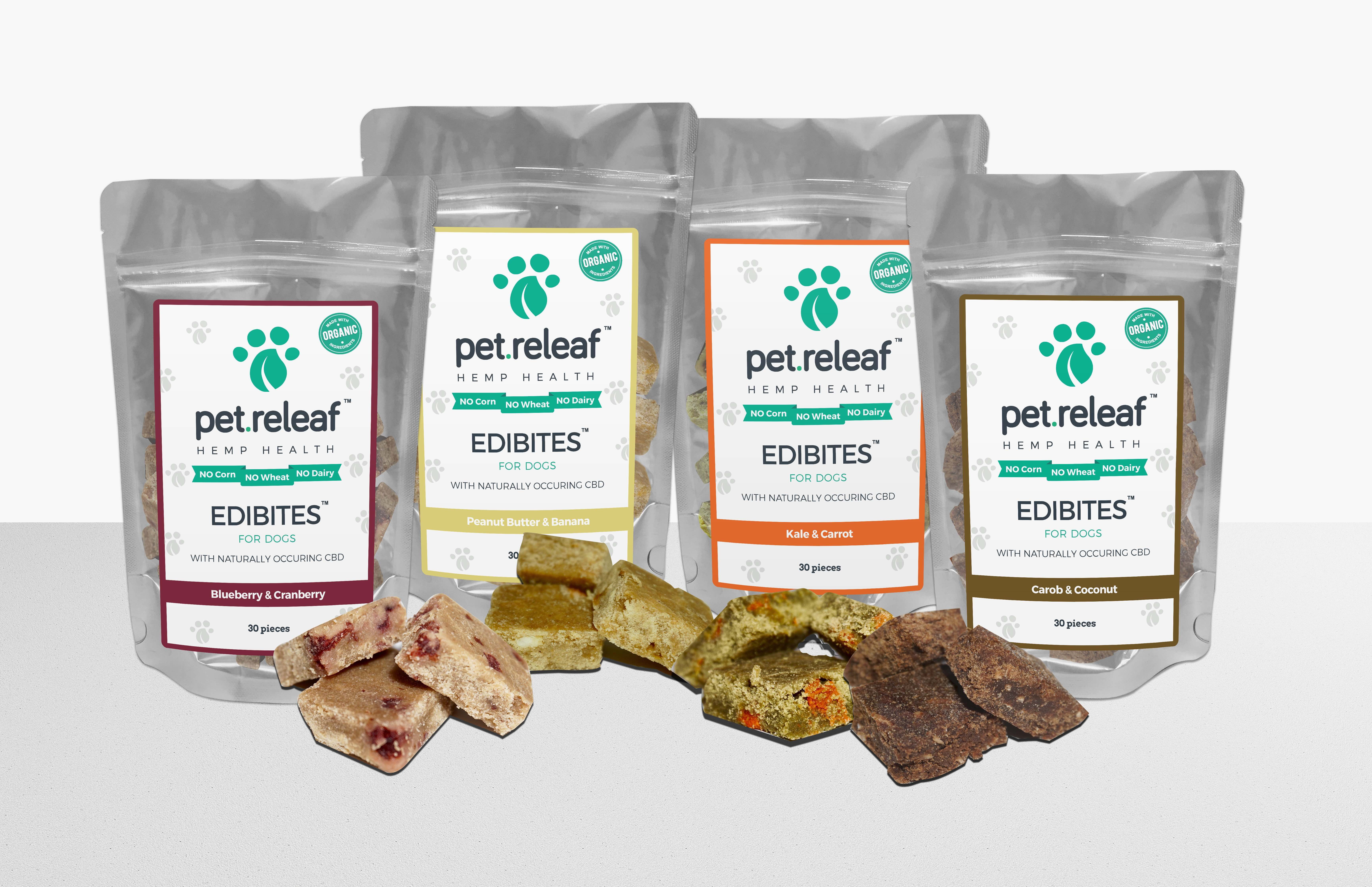 Pet Releaf Edibites for dogs are infused with Organic CBD