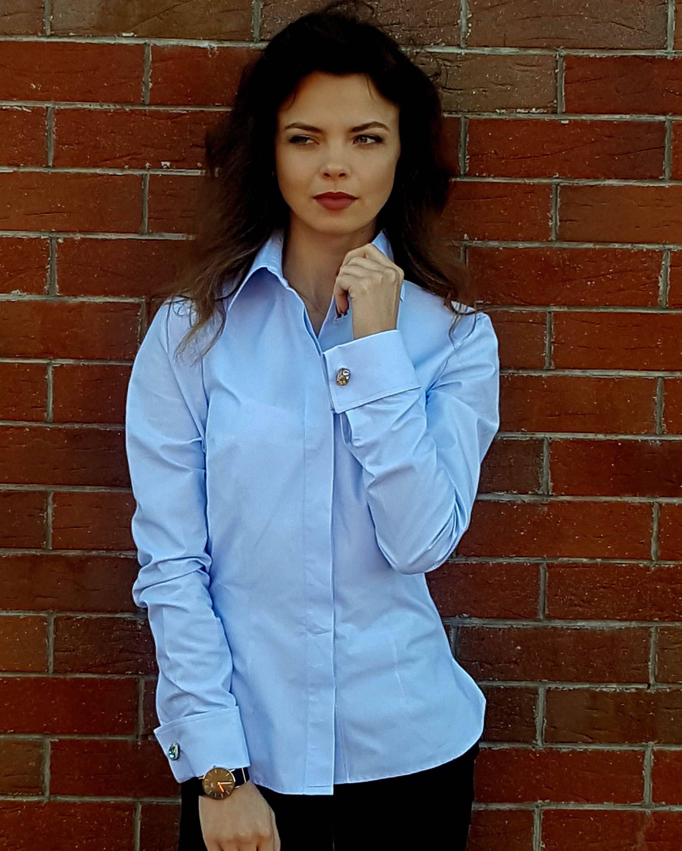 NEW Classic light blue cotton women's Dress Shirt - French ...