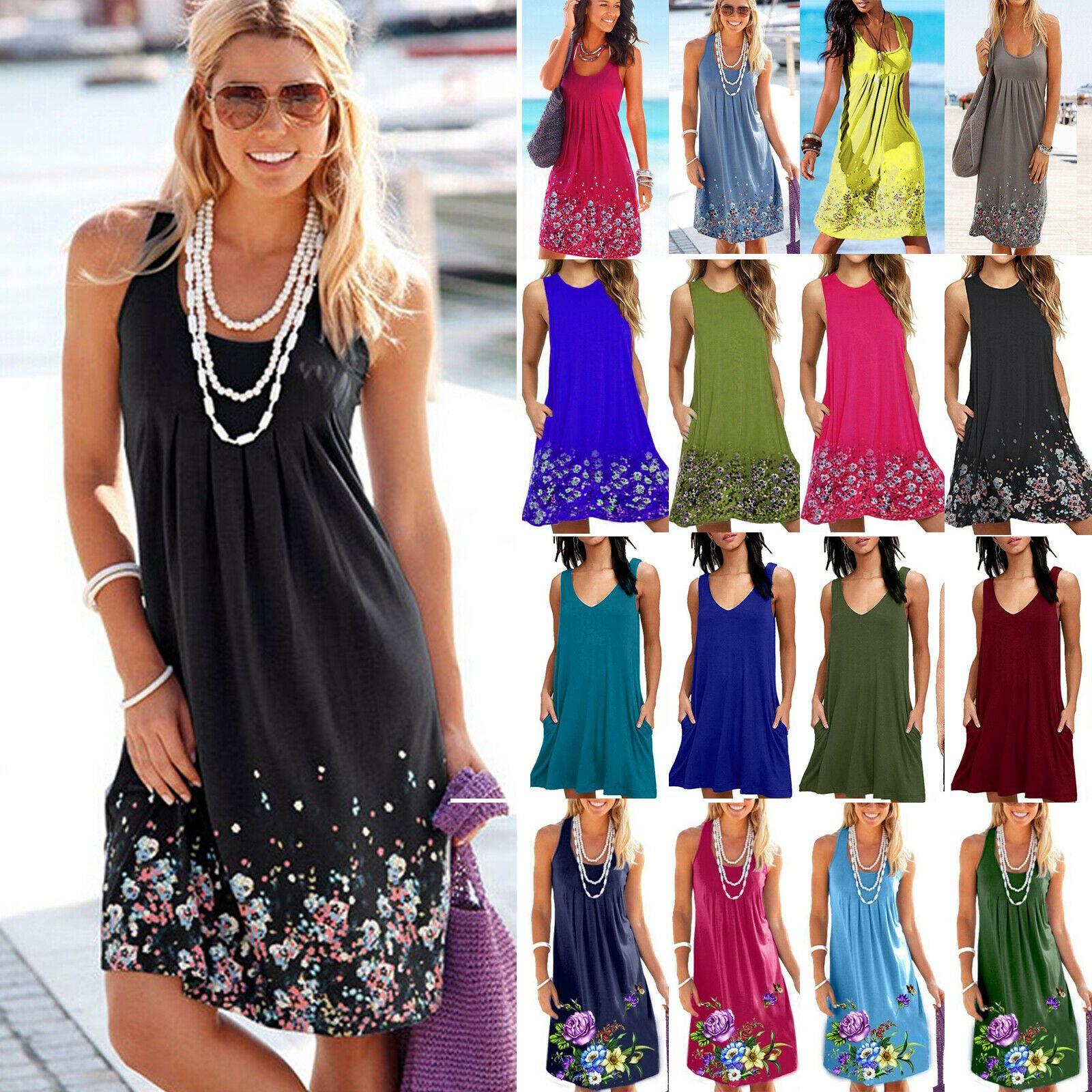 Damen V-Ausschnitt Blumen Strandkleid Langarm Sommerkleid Partykleider Minikleid