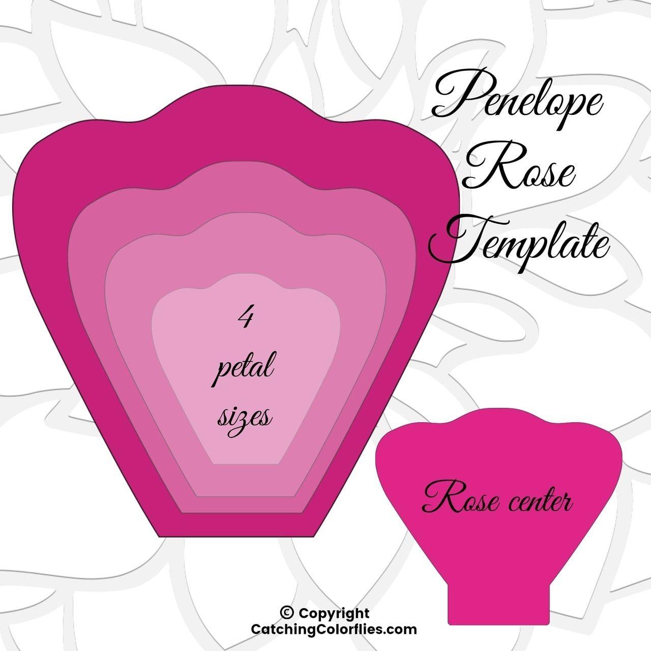 Penelope Paper Rose Template Diy Paper Rose Patterns Large
