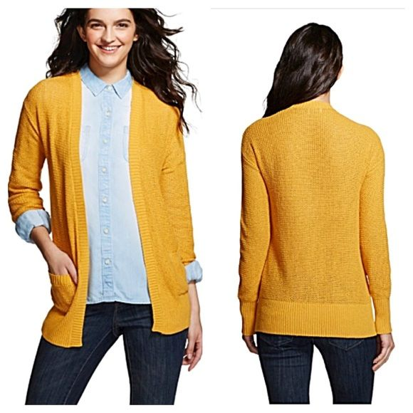 Mossimo | Yellow Open Weave Cardigan NWT | Sweater cardigan ...