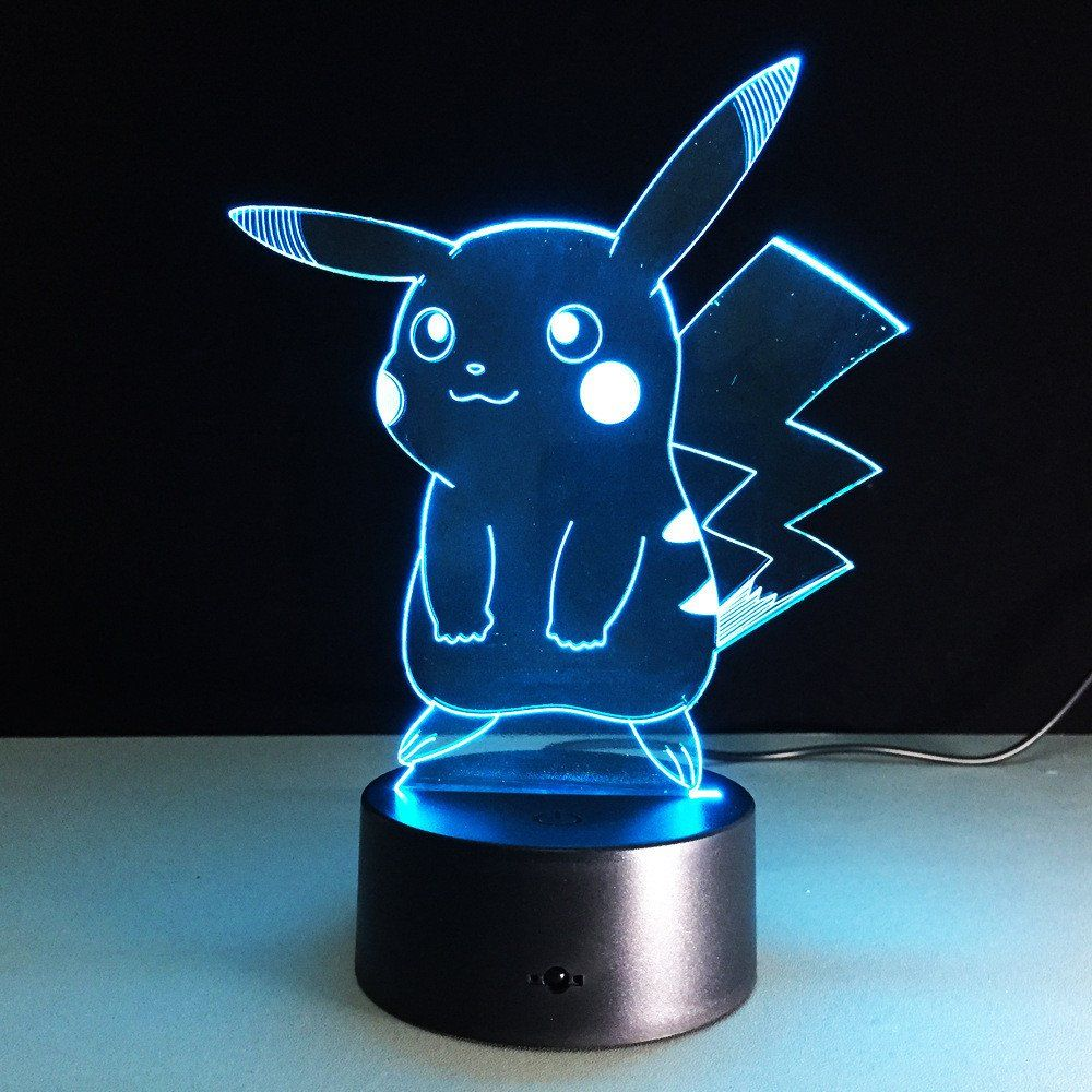 3d Pokemon Lamp Power Source Usb And Dc Battery Pikachu Night Light 3d Led Night Light Color Changing Lamp