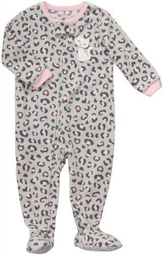 Amazon.com  Carter s Girls Leopard Kitty Fleece Footed Blanket Sleeper  Pajamas  Baby de996ed7e