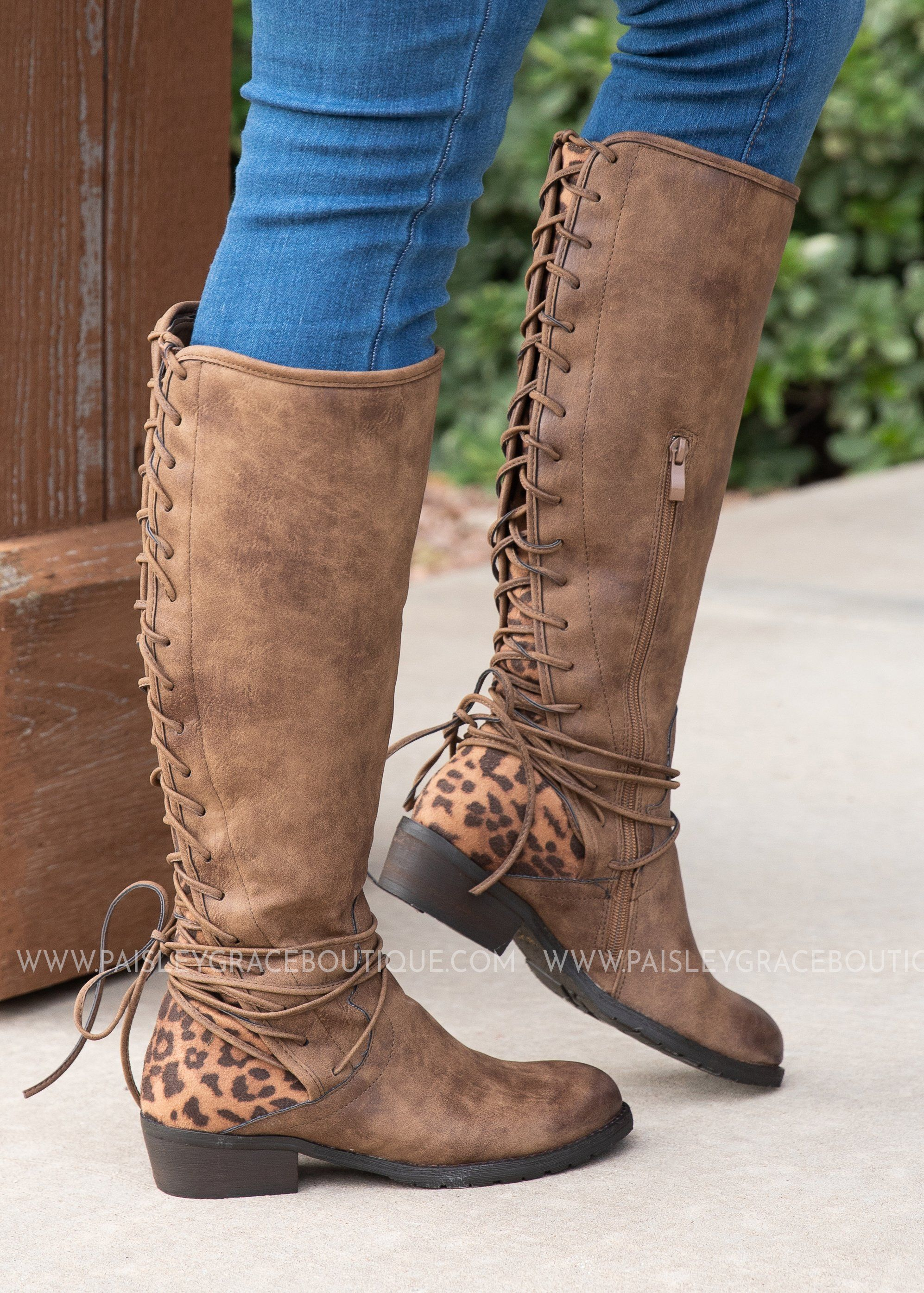 558cfb076c1 Leopard Back Lace Boots in 2019 | Products | Boots, Shoes, Tall ...