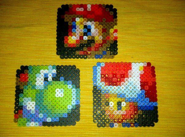 Mario, Yoshi & Toad Perler Bead Coasters by Max