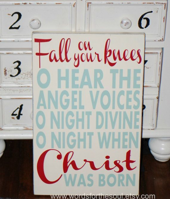 Fall on Your Knees Oh O Holy Night Christmas Typography Scripture Subway Art Wood Sign Christian ...