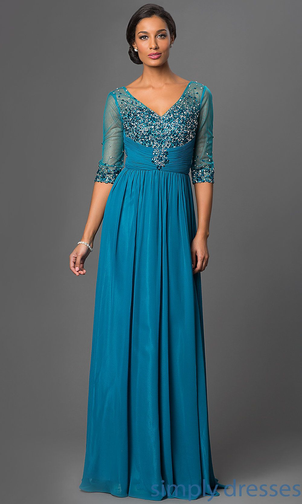 Silver Plus-Size Long Formal Dress with Sleeves | Blue dresses ...