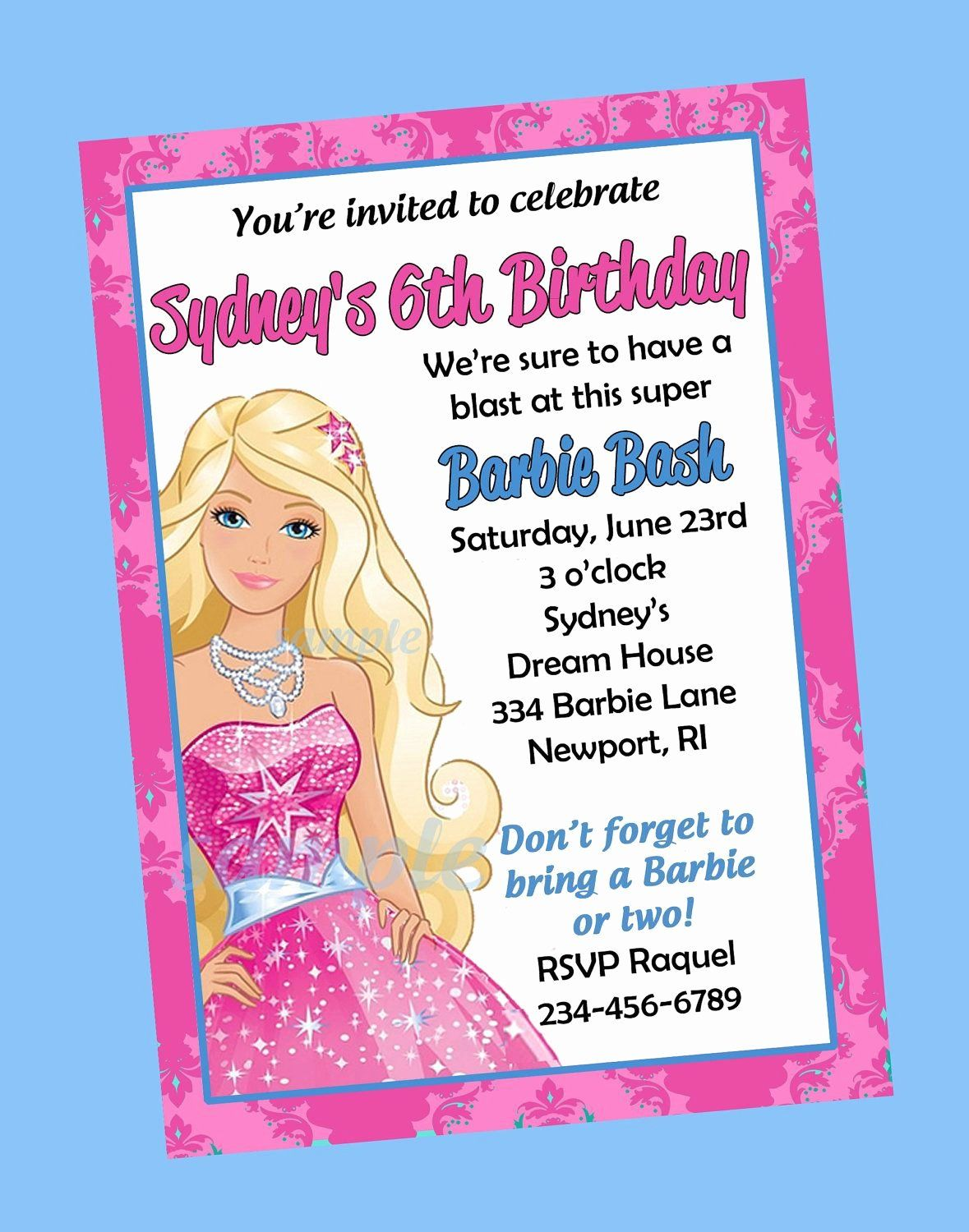 7th Birthday Party Invitation Wording New Free Print Barbie Invitations Barbie Invitations Barbie Birthday Party Barbie Birthday Invitations