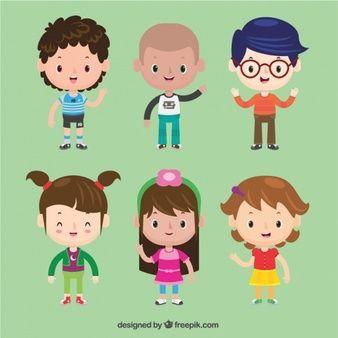 Set de bonitos personajes de niños