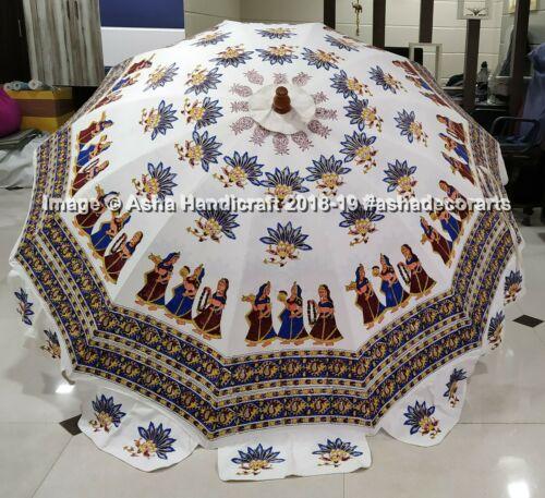 Indian Handmade Garden Parasol Block Printed Outdoor Patio Umbrella