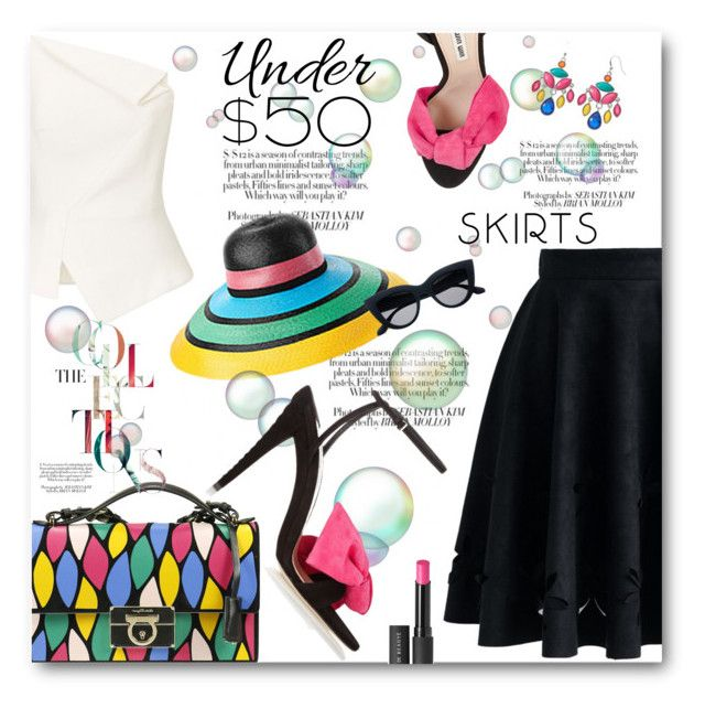 """""""Under $50 Skirts"""" by aysebt ❤ liked on Polyvore featuring Miu Miu, Salvatore Ferragamo, Roland Mouret, Chicwish, Missoni Mare, Le Métier de Beauté, under50 and skirtunder50"""