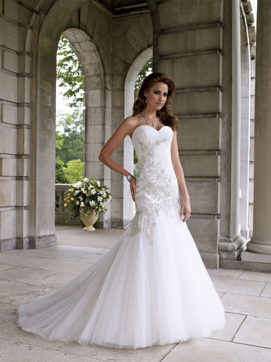 Strapless Tulle And Lace Mermaid Formal Wedding Dress With Sweetheart Neckline
