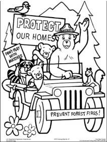 An Illustrated Coloring Page Smokey Bear Protect Your Home 4