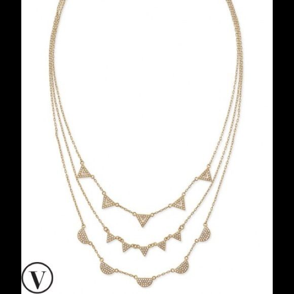 """Stella & Dot Pave Chevron Necklace!! HP 12/5!  Three strands of delicate hand-set micro pavé geometric shapes take the guesswork out of layering. Wear with all strands clipped together as one necklace, or unclasp any of the strands to create you favorite combination.  17"""" with 2'""""extender.  Lobster clasp closure. Stella & Dot Jewelry Necklaces"""