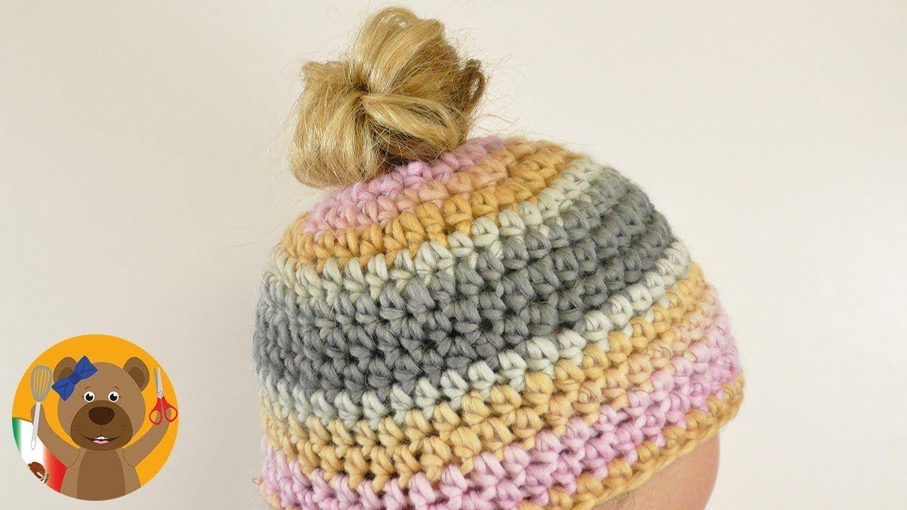 Messy Bun Hat|Teje un gorro para usar con una cola de caballo o ...