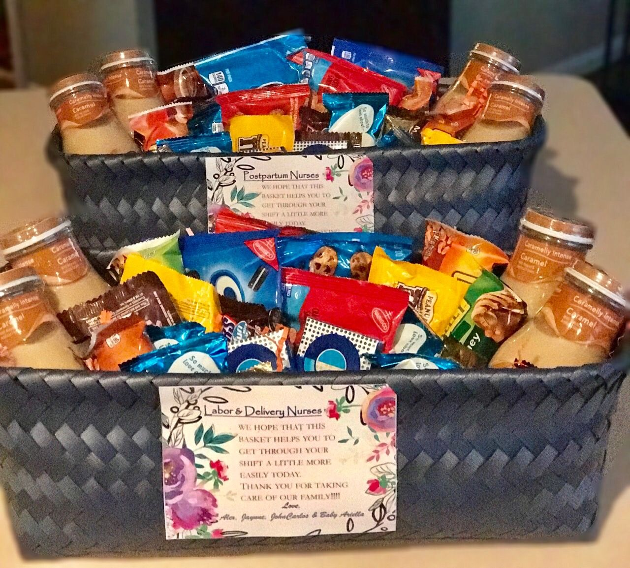 Labor delivery and postpartum nurse thank you baskets